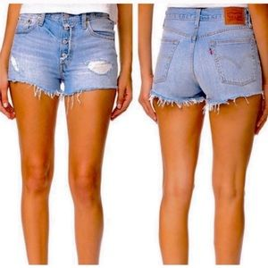 Levi's 501 Distressed Cut Off Button Fly Shorts